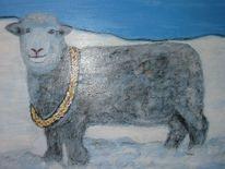 Schaf, Schnee, Winter, Malerei