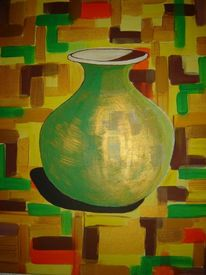 Vase, Bunt, Stillleben, Gold