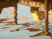 Spiegelung, Bootssteg, Verzerrung, Farben