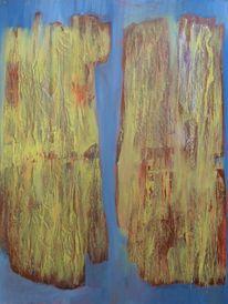Malerei, Holz, Frottage, Handschuhe