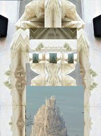 Digitale rweiterung, Skulptur, Collage, Illusion