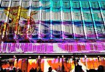 Neues rathaus, Farben, Projektion, Blaue nacht