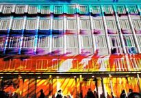 Neues rathaus, Blaue nacht, Architektur, Projektion