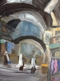 Jerusalem, Markt, Gasse, Malerei