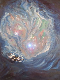 Nacht, Lichtwechsel, Polarlicht, Malerei
