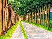 Baum, Aquarellmalerei, Landschaft, Allee