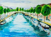Aquarellmalerei, Gracht, Niederlande, Landschaft