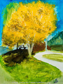 Herbst, Baum, Aquarellmalerei, Aquarell