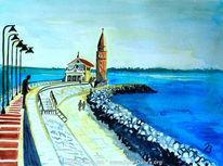 Meer, Promenade, Caorle, Aquarellmalerei