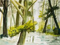 Waldbach, Baum, Aquarellmalerei, Aquarell
