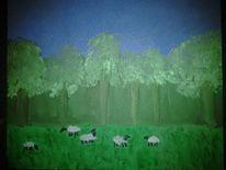 Wald schafe bäume, Malerei, Drache, Wald