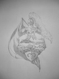 Wappen, Heraldik, Bleistiftzeichnung, Schraffur