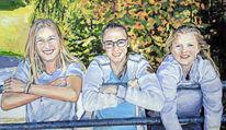 Fröhlichkeit, Portrait, Schwestern, Malerei