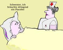 Krankenschwester, Gesundheit, Placebo, Cartoon