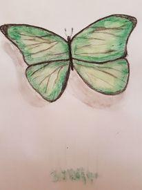 Flügel, Bewundern grün gelb, Gute laune, Zart