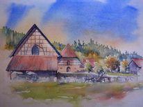 Alte schäferei, Bayer, Ahorn, Aquarellmalerei