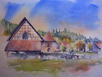 Ahorn, Aquarellmalerei, Coburg, Oberfranken