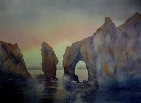 Aquarellmalerei, Algarve, Portugal, Ponta da piedade