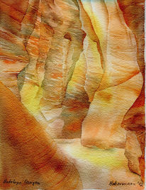 Aquarellmalerei, Schlucht, Nationalpark, Antilope