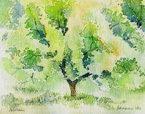 Baum, Aquarellmalerei, Apfel, Aquarell