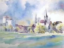 Aquarellmalerei, Scherneck, Coburg, Itzgrund