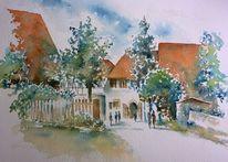 Gehöft, Aquarellmalerei, Bauernhof, Mittelfranken