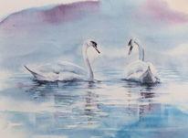 Teich, Aquarellmalerei, Schwan, Begegnung