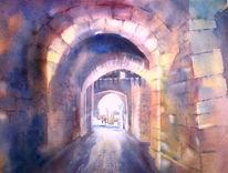 Aquarellmalerei, Burg, Burgauffahrt, Tor
