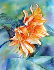 Sonnenblumen, Aquarellmalerei, Blumen, Gelb