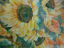 Blumen, Aquarellmalerei, Sonnenblumen, Aquarell