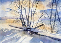 Sonnenuntergang, Winter, Dezember, Aquarell