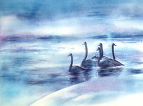 Winter, Aquarellmalerei, Eis, Schwan