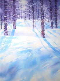 Landschaft, Winterwald, Finnland, Aquarellmalerei