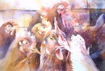Hühnerhof, Aquarellmalerei, Henne, Huhn