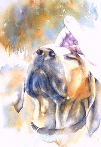 Genießer, Aquarellmalerei, Enjoyer, Hund