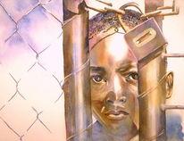 Obergrenze, Flüchtling, Aquarellmalerei, Afrikaner