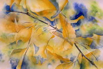 Herbst, Ginkgo, Aquarellmalerei, Gelb