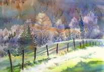 Aquarellmalerei, Herbst, Wald, Sonnenlicht