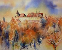Festung, Veste, Aquarellmalerei, Burg
