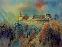 Aquarellmalerei, Veste coburg, Coburg oberfranken, Aquarell