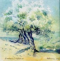Kefalonia, Aquarellmalerei, Griechenland, Olivenbaum