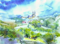 Oberfranken, Aquarellmalerei, Kloster banz, Schloss banz