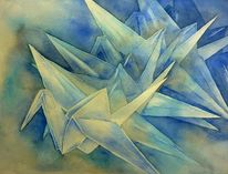 Touchdown, Landung, Aquarellmalerei, Origami