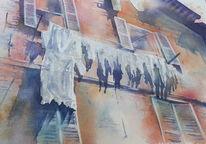 Wäsche, Aquarellmalerei, Fenster, Urbino