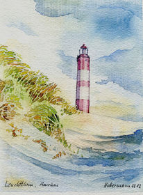 Insel, Aquarellmalerei, Küste, Amrum