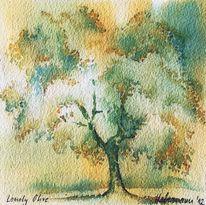 Baum, Aquarellmalerei, Olivenbaum, Griechenland