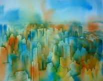 Empire state buildig, Usa, Aquarellmalerei, Nyc