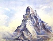 Berge, Aquarellmalerei, Schweiz, Alpen