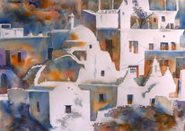 Aquarellmalerei, Griechenland, Kirche, Aquarell