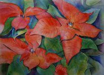 Aquarellmalerei, Blumen, Rot, Topfpflanze